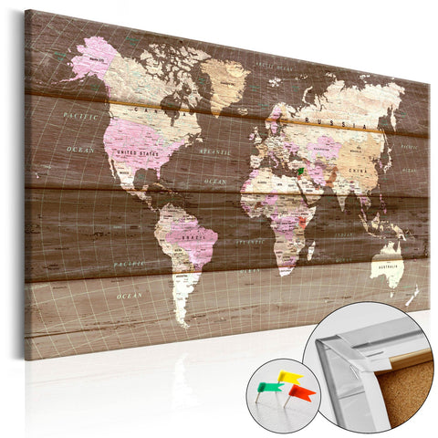 Decorative Pinboard - Wooden World [Cork Map]