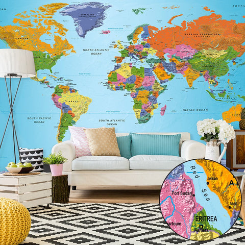 XXL wallpaper - World Map: Colourful Geography II