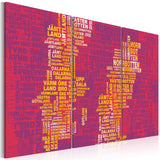 Canvas Print - Text map of Sweden (pink background) - triptych