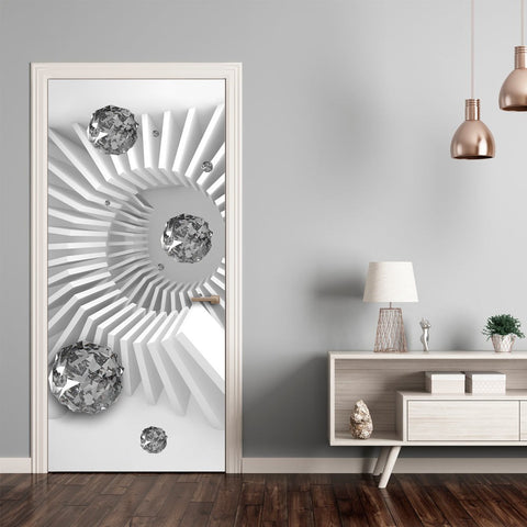 Photo wallpaper on the door - Photo wallpaper - Black and white abstraction I