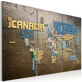 Canvas Print - Map of the World (Italian language) - triptych