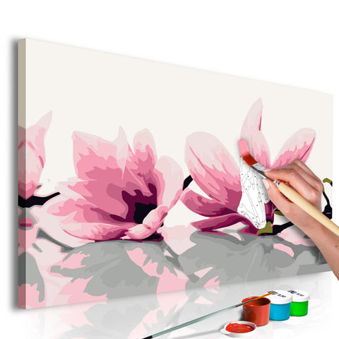 DIY canvas painting - Magnolia (White Background)