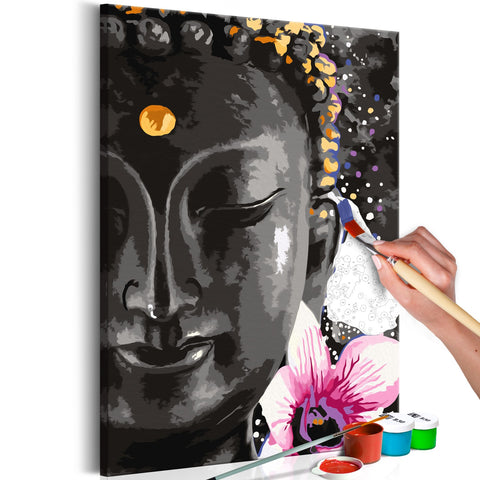 DIY canvas painting - Buddha and Flower