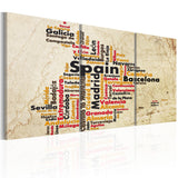 Canvas Print - Spain: text map in colors of national flag