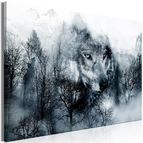 Canvas Print - Mountain Predator (1 Part) Wide Black and White