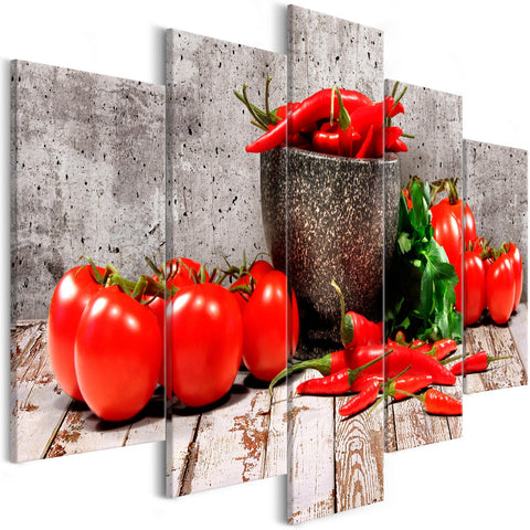 Canvas Print - Red Vegetables (5 Parts) Concrete Wide