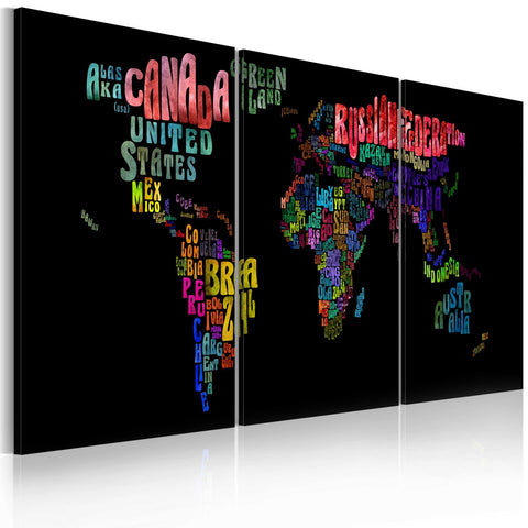 Canvas Print - Text map of the World