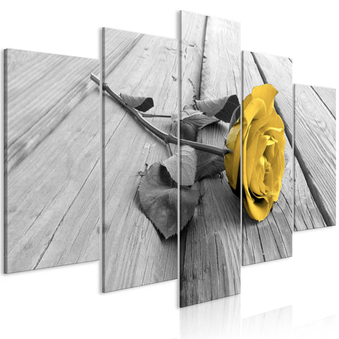Canvas Print - Rose on Wood (5 Parts) Wide Yellow