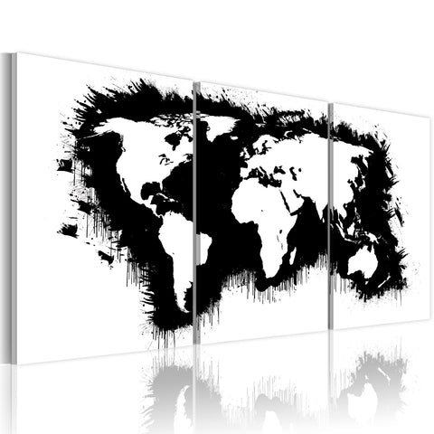 Canvas Print - The World map in black-and-white