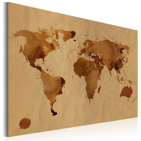 Canvas Print - The World painted with coffee