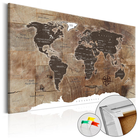 Decorative Pinboard - Wooden Mosaic [Cork Map]