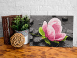 DIY canvas painting - Pink Flower and Stones