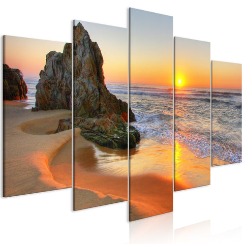 Canvas Print - Meeting at Sunset (5 Parts) Wide