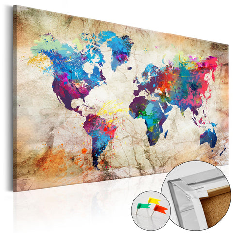 Decorative Pinboard - World Map: Urban Style  [Cork Map]