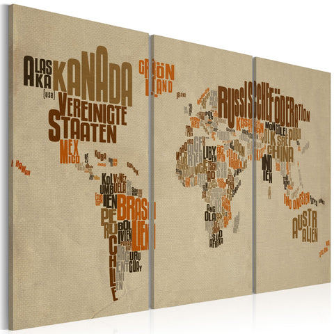 Canvas Print - Map of the World (German language) - triptych