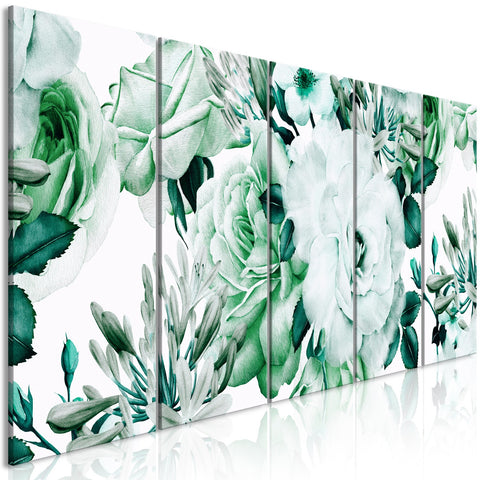 Canvas Print - Rose Composition (5 Parts) Narrow Green