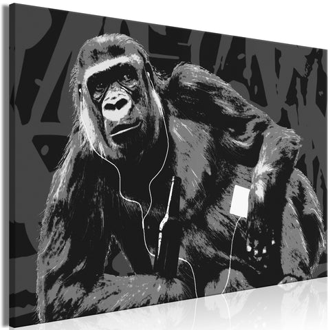Canvas Print - Pop Art Monkey (1 Part) Narrow Grey