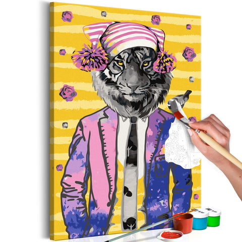 DIY canvas painting - Tiger in Hat