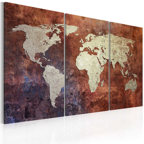 Canvas Print - Rusty map of the World - triptych