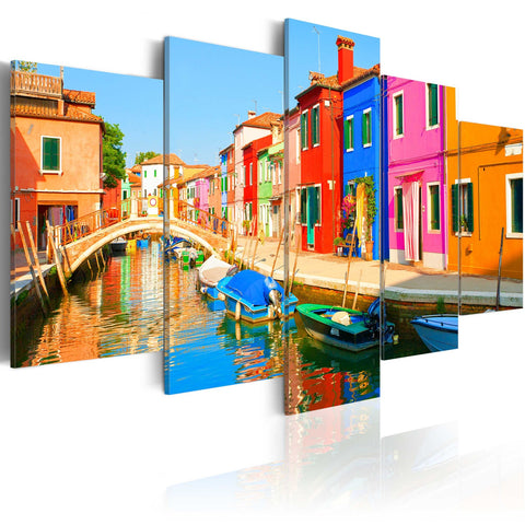 Canvas Print - Waterfront in rainbow colors