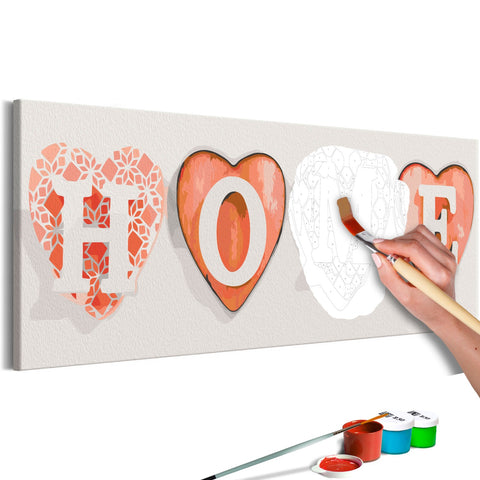 DIY canvas painting - Four Hearts