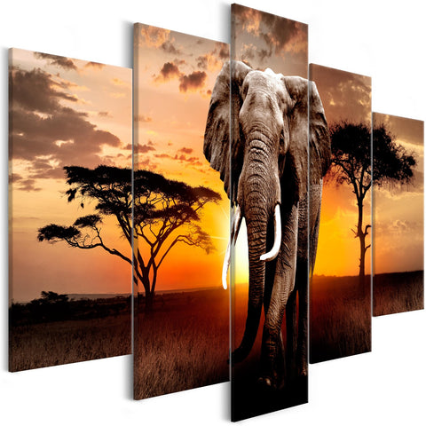 Canvas Print - Wandering Elephant (5 Parts) Wide