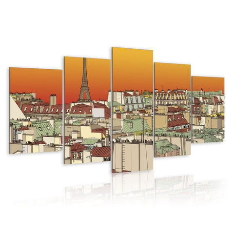 Canvas Print - Parisian sky in orange colour