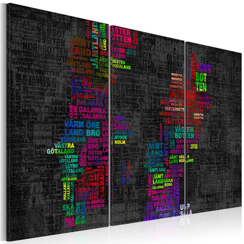 Canvas Print - Map of Sweden (colored names of cities) - triptych