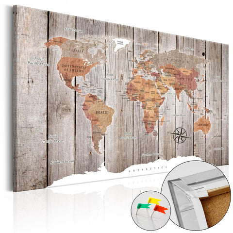 Decorative Pinboard - Wooden Stories [Cork Map]
