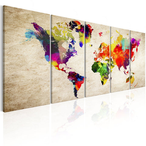Canvas Print - World Map: Painted World