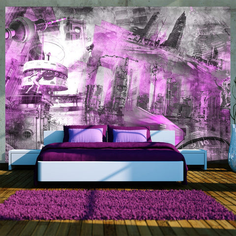 Wallpaper - Berlin - collage (violet)