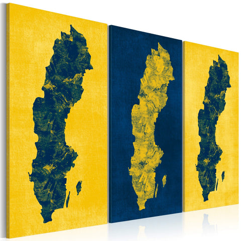 Canvas Print - Painted map of Sweden - triptych