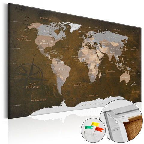 Decorative Pinboard - Cinnamon Travels [Cork Map]