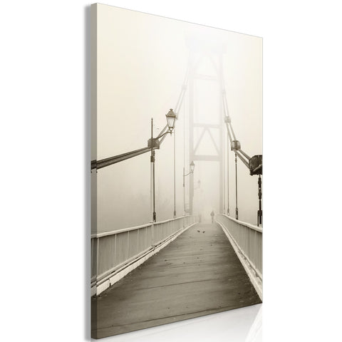 Canvas Print - Bridge in the Fog (1 Part) Vertical