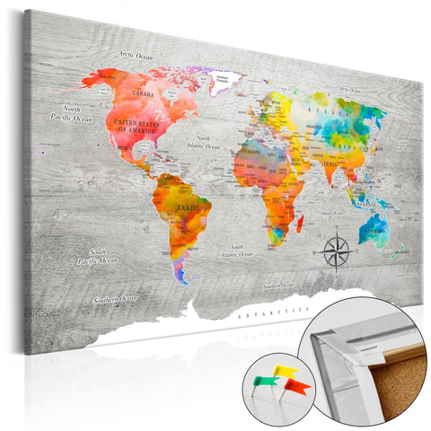 Decorative Pinboard - Multicolored Travels [Cork Map]