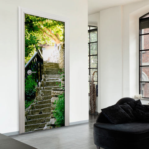 Photo wallpaper on the door - Stony Stairs