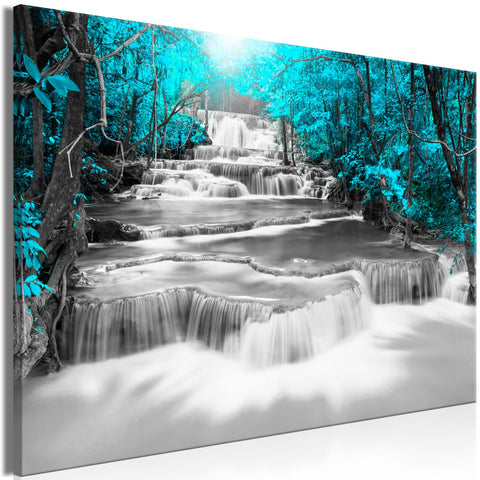 Canvas Print - Cascade of Thoughts (1 Part) Wide Turquoise