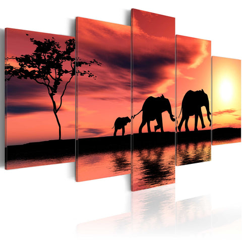 Canvas Print - African elephants family