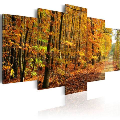 Canvas Print - An alley among colorful leaves