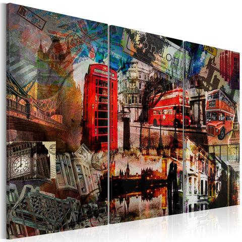 Canvas Print - London collage - triptych