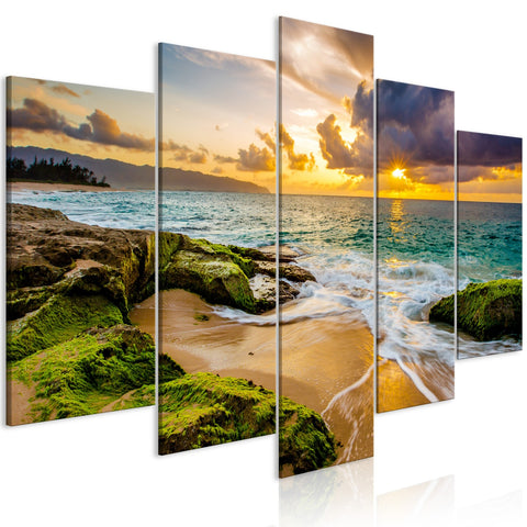 Canvas Print - Turquoise Sea (5 Parts) Wide