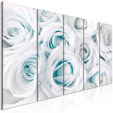 Canvas Print - Satin Rose (5 Parts) Narrow Turquoise