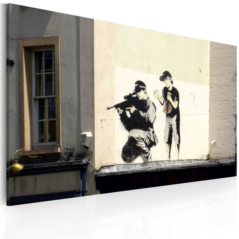 Canvas Print - Sniper and boy (Banksy)
