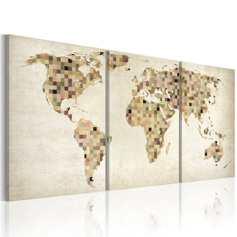 Canvas Print - The World map - squares
