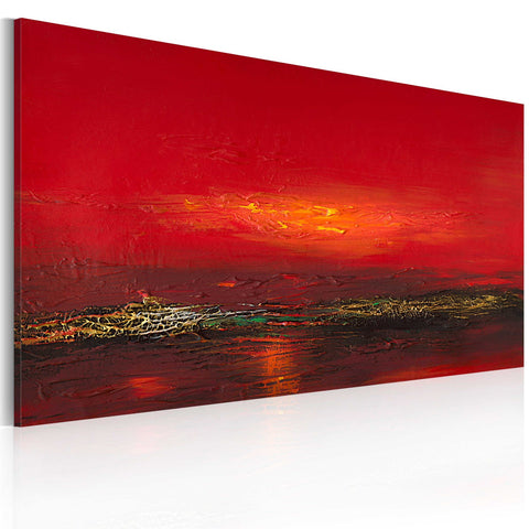 Handmade painting - Red sunset over the sea