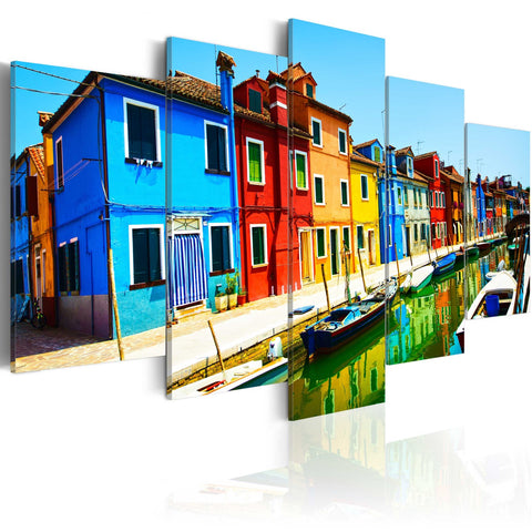 Canvas Print - Houses in the colors of the rainbow