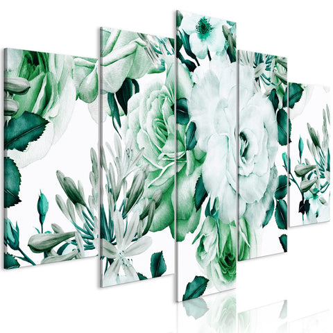 Canvas Print - Rose Composition (5 Parts) Wide Green