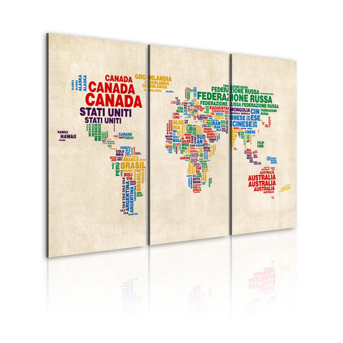Canvas Print - Italian names of countries in vivid colors - triptych