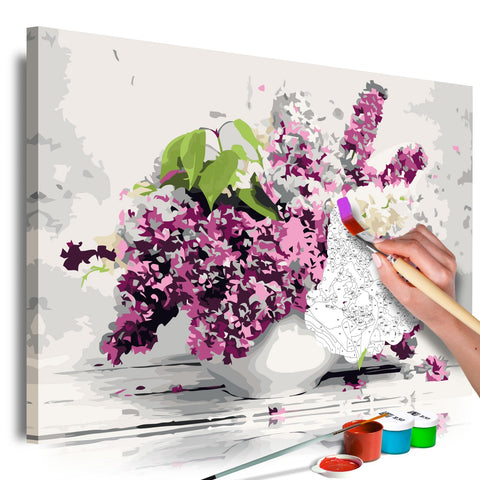 DIY canvas painting - Vase and Flowers