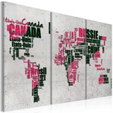 Canvas Print - Map of the World (French language) - triptych